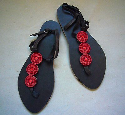 New African Ethnic Kenyan Leather Tribal Masai Red Bead Sandals Shoes Beachwear