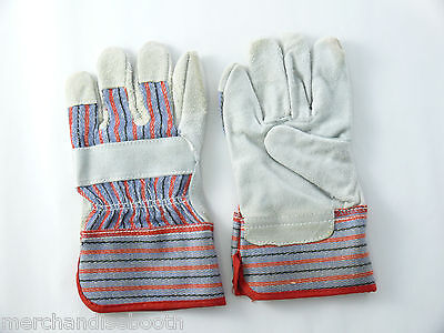 3 pair Childrens Work Glove Leather Palm  with Safety Cuff Ages 4-8