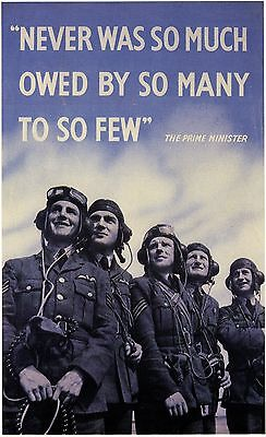 """""""NEVER WAS SO MUCH OWED BY SO MANY"""" World War 2 Propaganda Poster A1A2A3A4Sizes"""