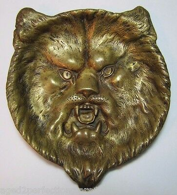 Antique Bronze Growling Cat Trinket Tray figural ornate details tip coin jewelry