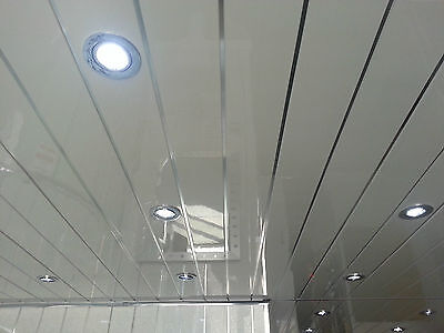 4 Twin Chrome PVC Ceiling Cladding Panels Decor Cladding Wet Room Wall Panels