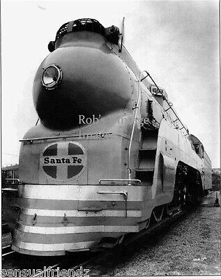 Santa Fe Steam Locomotive Blue Goose #3460 Photo  ATSF Art deco railroad train