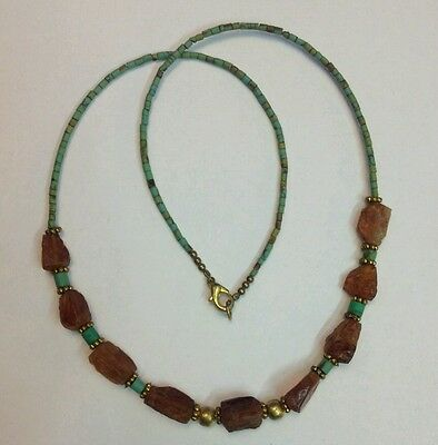 Afghan Tiny Seed Mini Turquoise & Roman Glass Beads Necklace Antique Ancient Old