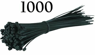 NEW 1000 Black Natural Nylon Plastic Cable Ties Zip Tie Wraps 230mm x 5mm