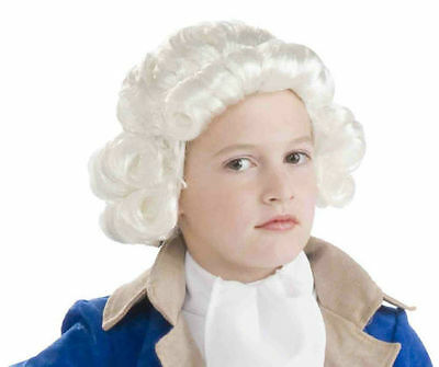 Colonial Boy Childrens White Historical George Washington Wig NEW