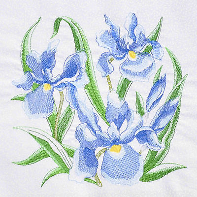 Embroidered Cushion Panel Quilt Block IRIS 100% Cotton White Tone Leaf Fabric