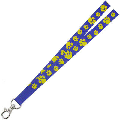 PinMart's Blue and Gold Paw Print School Mascot Sports Lanyard w/ Safety Release