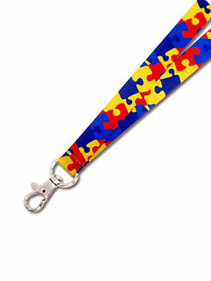 PinMart's Full Color Autism Awareness Puzzle Piece Lanyard w/ Safety Release