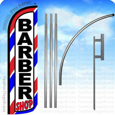 WINDLESS Swooper Feather Full Sleeve Banner Sign Flag 15' KIT- BARBER SHOP bq