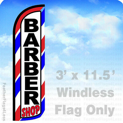 BARBER SHOP - WINDLESS Swooper Flag Feather Banner Sign 3x11.5' - bq