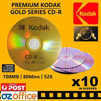 PREMIUM 10 x KODAK CD R Gold Blank CD R 52X 80mins 700MB TDK CD Disc Quality