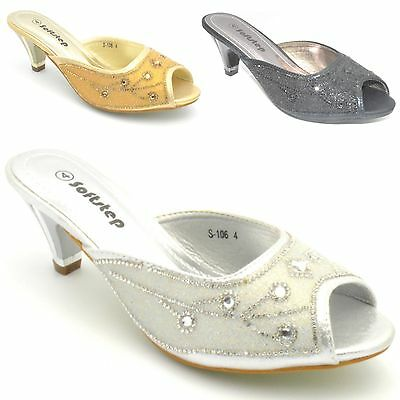 Womens Ladies Diamante Silver Mid Heel Prom Mules Shoes Summer Sandals Size S106