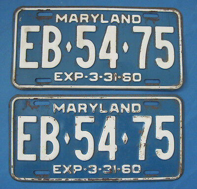 1960 Maryland matched pair of license plates