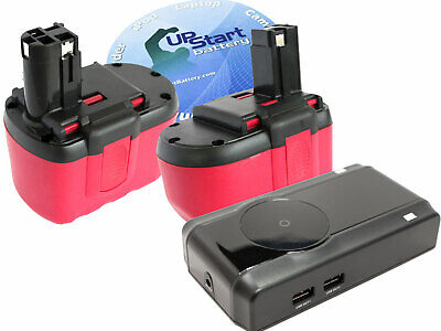 2x Battery + Universal Charger for Bosch 2 607 335 445, 11524, GBH-24V 24V 1.3Ah
