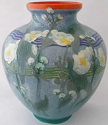 Unusual Large Royal Doulton Pottery Vase Decorated With Flowers