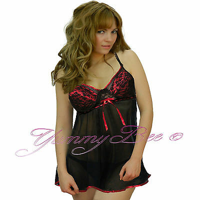 03d0692c965 Yummy Bee Sexy Babydoll Dress Chemise Plus Size 8-28 Lingerie Women Nighty  Lace