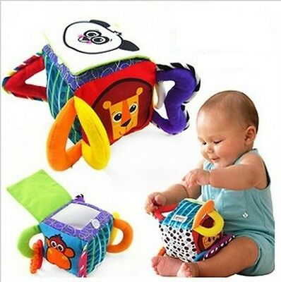 Infant Baby Toddler Kid Panda Cube Peekaboo Mirror Soft Plush Rattle Block Toy