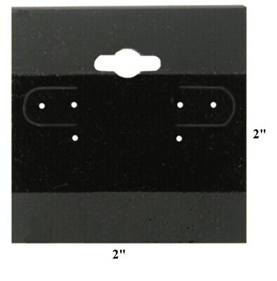 """HOT  LOT OF 100 BLACK PLAIN EARRING CARDS w/LIP 2""""x2"""" HANGING JEWELRY CARDS"""
