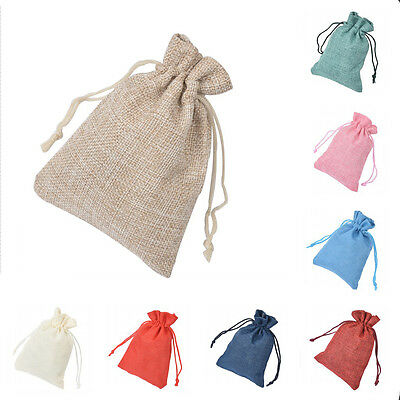 50p 9.5*14Cm Burlap Hessian Bags Drawstring Rustic Bag Wedding Favor Linen Gift