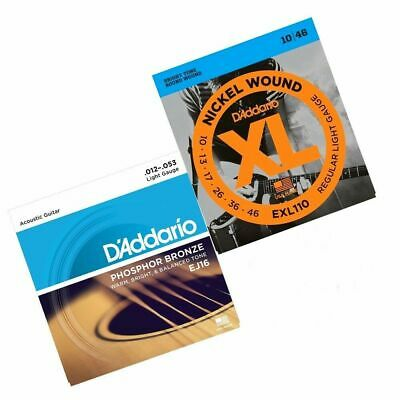 D'Addario EXL110 10 - 46 Electric + EJ16 12 - 53 Acoustic Guitar Strings New