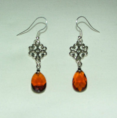 Sm Lacy Filigree Victorian Style Brown Glass Crystal Dark Silver Pl Earrings