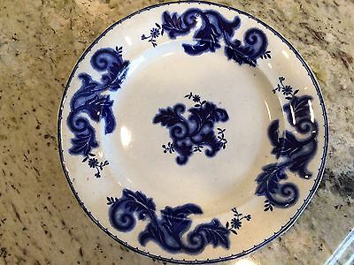 Antique Tyndale's Scroll Flow Blue Plate 9 1/4""