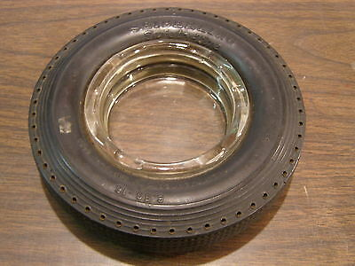 Original Seiberling Safety Tire Ash Tray Advertising Clear Glass