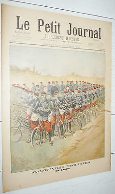 Petit Journal 1897 Manoeuvres Armee Cyclistes Carre / Soulevements Inde India