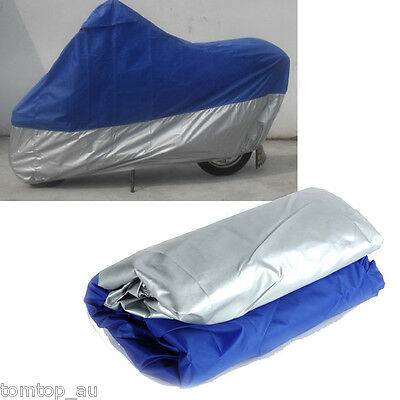 Waterproof Motorcycle Scooter Bike Cover UV Rain Protective XXL Blue + Black XXL