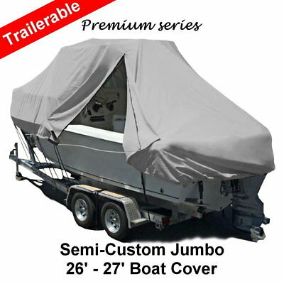 New Design with Zipper 600D 7.9-8.2m 26-27ft T-Top Jumbo Boat Cover Grey
