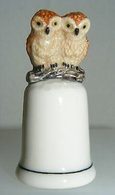 Klima Porcelain Owl Couple on Thimble Beige K693