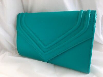 New Green Pink Blush Grey Faux Leather Evening Clutch Bag Wedding Prom Party