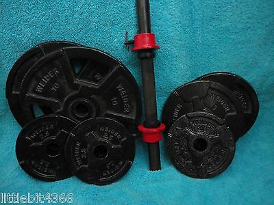 WEIDER PLATE AND BARBELL SET- 2x 10#- 2x 5# 3x 2.5# & BARBELL SET