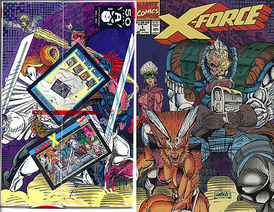 X-FORCE #1 Sealed Polybag w/ TEAM PORTRAIT TRADING CARD Nice! NM New (1991)