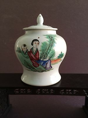 Chinese Antique 19Th Century Qing Dynasty Porcelain Famille Rose Jar W/ Mark