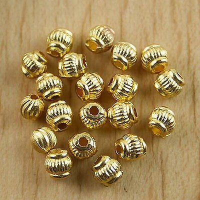 80pcs gold tone round spacer beads h0433