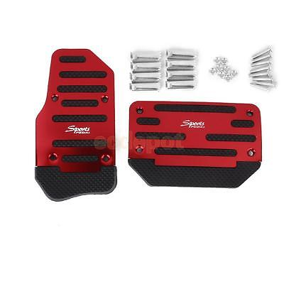 Set 2Pcs NonSlip Sport Automatic Car Truck Brake Pedal Accelerator Pad Cover Red