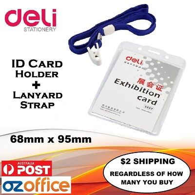 PREMIUM 1 x Vertical ID Card Holder + Blue Lanyard Neck Strap High Quality Clip