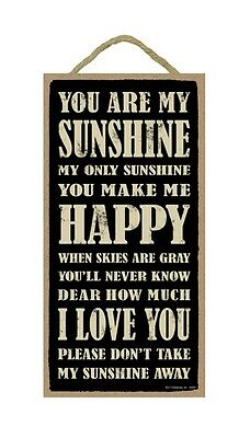 """YOU ARE MY SUNSHINE Primitive Wood Hanging Plaque 5"""" x 10"""""""