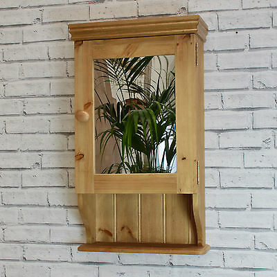 GS Bathroom Cabinet with a Shelf : Panelled, Mirrored or Glazed In Antique Pine