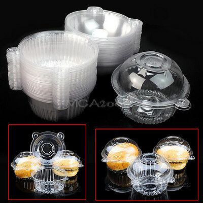 New 50 Clear Plastic Single Cup Pod Muffin Cake Container Case Boxes Holder