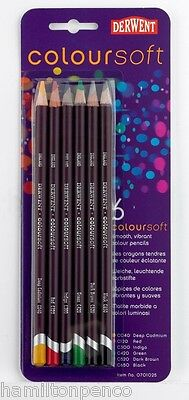 DERWENT COLOURSOFT PACK of 6 smooth, vibrant colour pencils
