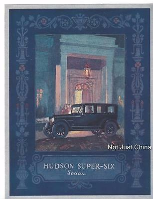 Vintage Hudson 1924 - The Hudson Super-Six Sedan  Colored Brochure or Pamphlet
