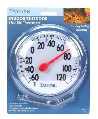 "#5630 New 6"" TAYLOR Indoor Outdoor Round Dial Thermometer w/ Mounting Bracket!!!"