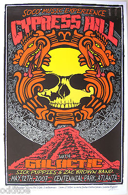 Cypress Hill- Original Signed 2007 Concert Poster by Lindsey Kuhn, yellow skull