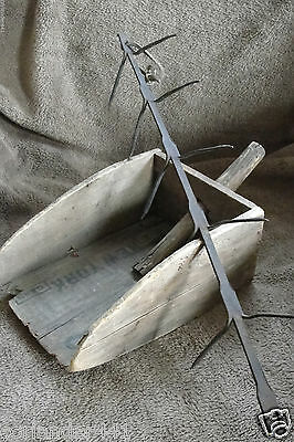 Primitive Hand Made Wood Grain Scoop And Iron Metal Corn Drying Rack