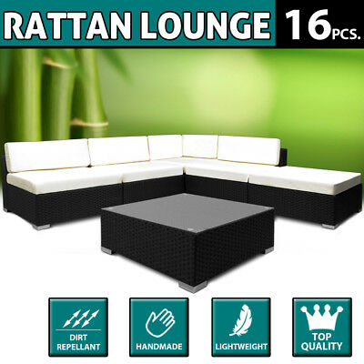 Garden Furniture Set 16 Pcs. Poly Rattan - 7 cm Thick Cushions - Black - Outdoor