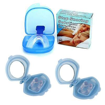 2x Mouthguard Mouthpiece + 2 Nose Clip Snoring Aid Anti Snore Sleep Mouth Guard