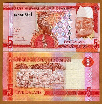 Gambia, 5 Dalasis, ND (2015), P-New, UNC   New Re-designed Issue
