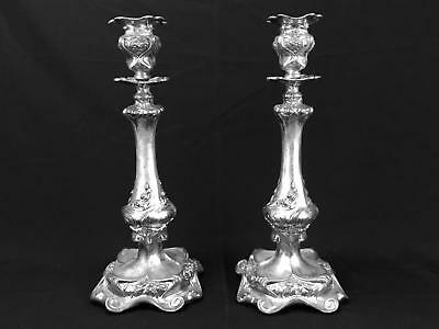 Barbour Quadruple Silverplate Nouveau Iris Candlesticks Holders c.1800s